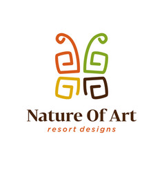 African art decoration logo icon simple vector