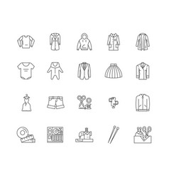 apparel business line icons signs set vector image