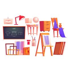 Art classroom furniture artist studio set vector