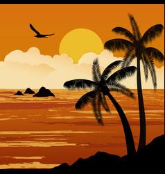beautiful tropical sunset with palm trees vector image