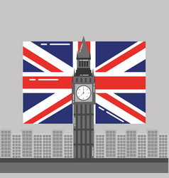 Big ben london flag england and buildings tower vector
