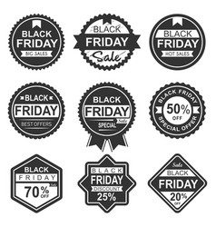 black friday sale labels silhouette vector image