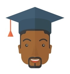 Black guy head with graduation cap vector image