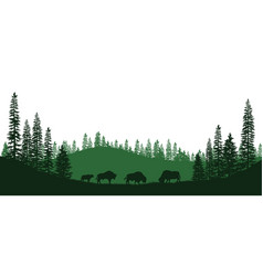 Black silhouettes of american bison vector