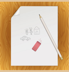 Blank paper page pencil eraser picture template vector