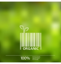Blurred nature background with eco barcode vector