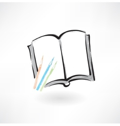 book and pencils grunge icon vector image
