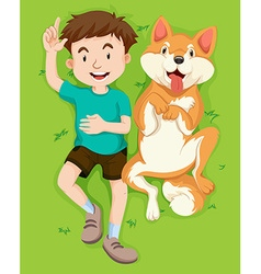 Boy and dog on the grass vector image