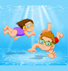 Boy and girl playing and swimming in pool under vector