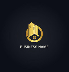 building realty gold logo vector image