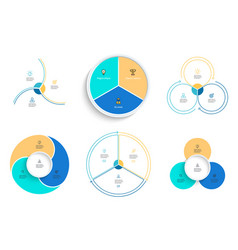 business infographics pie charts with 3 steps vector image