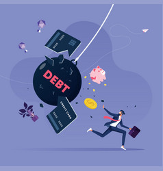 Businessman try escape from debt vector