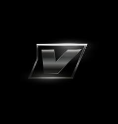 Carbon speed letter v logo dark matte metal vector