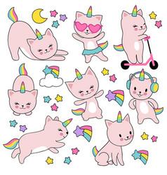 cartoon cute white cat unicorns funny capricorn vector image