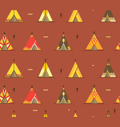 Cartoon wigwams or tepees background pattern vector