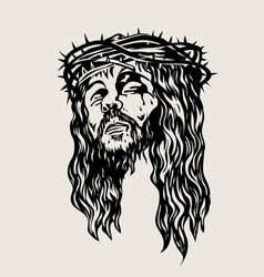 Christ face sketch drawing vector