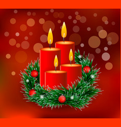 christmas wreath with candles on a red background vector image