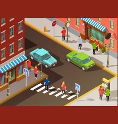 City navigation isometric set vector
