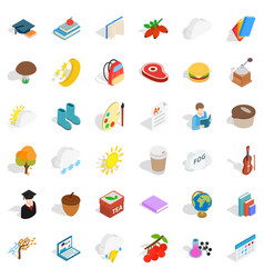 Cold season icons set isometric style vector