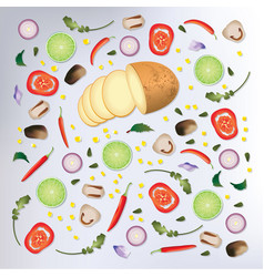 colorful pattern raw food background vector image