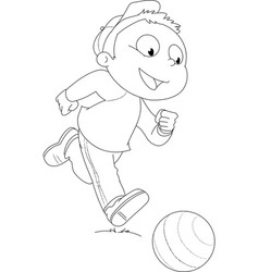Coloring Boy playing with ball vector image