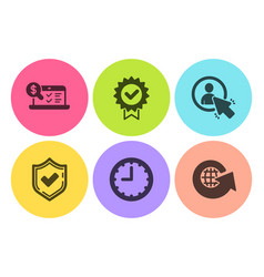 Confirmed certificate and time icons set user vector