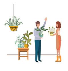 Couple with houseplant on macrame hangers vector