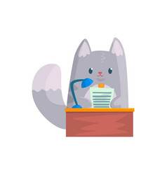 Cute businessman cat speaking from the rostrum vector