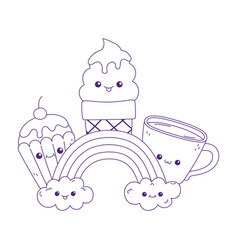 Cute cupcake ice cream coffee cup and rainbow vector