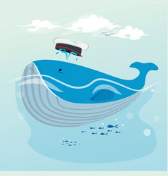 cute whale hand drawn cartoon vector image