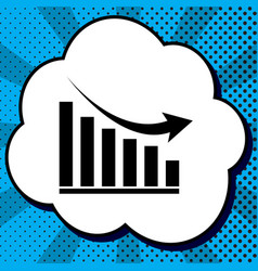declining graph sign black icon in bubble vector image