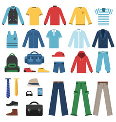 different clothes for man isolate on white vector image