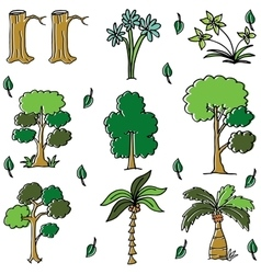 Different tree in doodles art vector