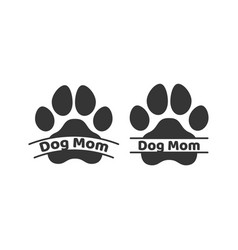 dog mom dog puppy cat paw silhouette icons set vector image