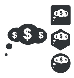 Dollar thought icon set monochrome vector
