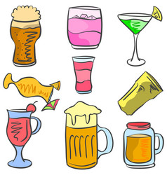 doodle of drink set various vector image