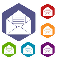Envelope with sheet of paper icons set hexagon vector