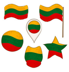 flag of lithuania performed in defferent shapes vector image