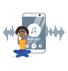 Flat concept podcast with girl and phone vector