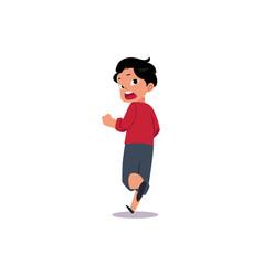 flat frightened teenage boy running away vector image