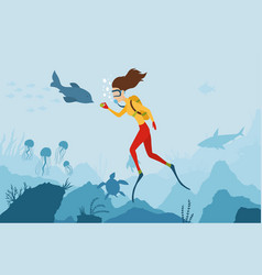 girl diver playing with a dolphin scuba diver vector image