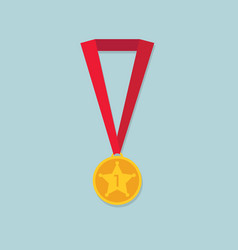 gold medal with star and red ribbon vector image
