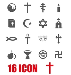 Grey religion icon set vector
