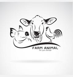 Group animal farm label cowpigchicken logo vector