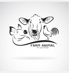 group of animal farm label cowpigchicken logo vector image