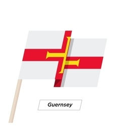 Guernsey Ribbon Waving Flag Isolated on White vector
