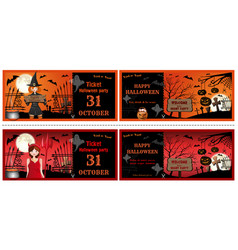 halloween invitations cards set face and turnover vector image