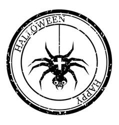 Halloween stamp postal icon spider silhouette vector