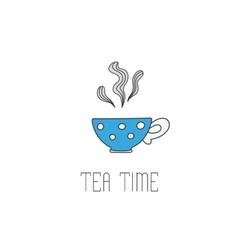 Hand drawn polka dot tea cup vector