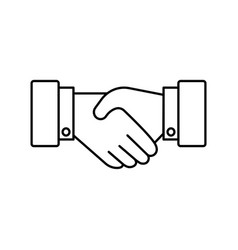 Handshake line icon partnership and agreement vector